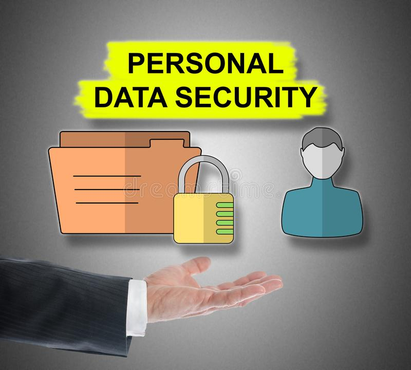 Personal data security concept levitating above a hand. On grey background royalty free stock images