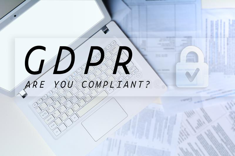 GDPR computer overlay. Personal data and sensitive information concept for GDPR royalty free stock photo