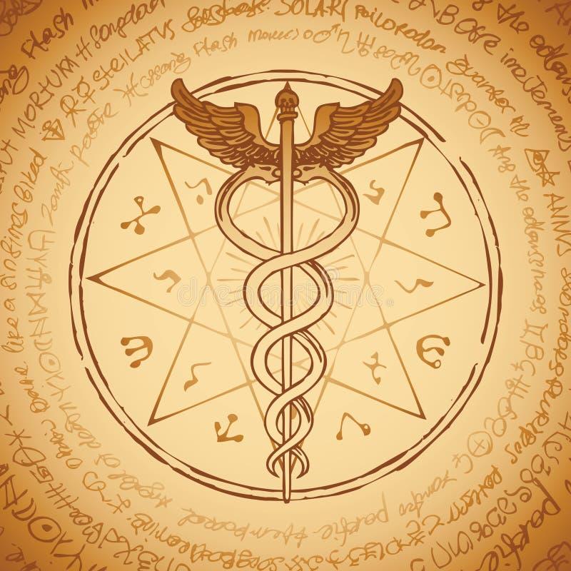 Personal de Hermes con dos serpientes con las alas ilustración del vector