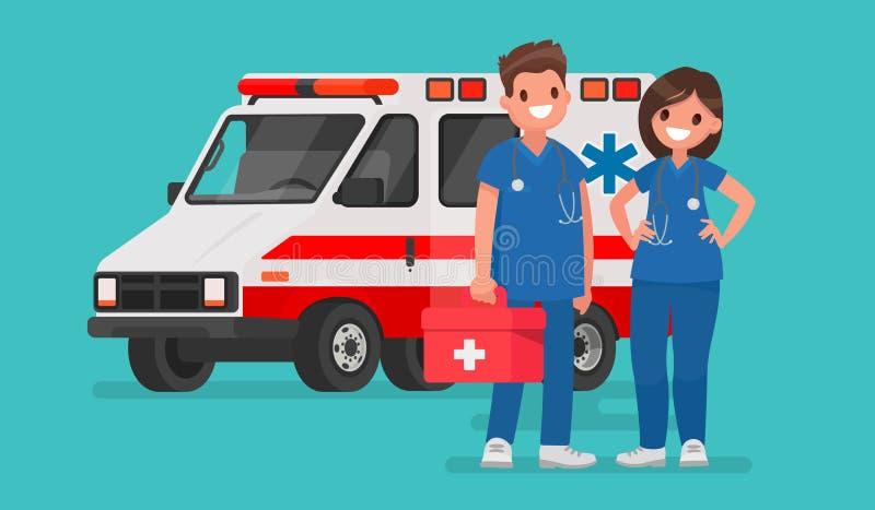 Personal de la ambulancia Pares de doctores Ejemplo del vector en un fla libre illustration