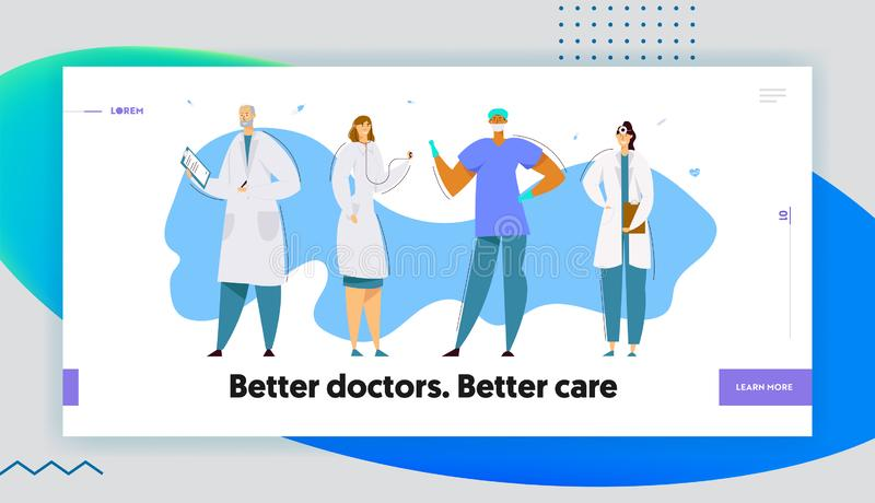 Personal de la atención sanitaria del hospital, doctores, cirujano Character en uniforme, enfermera Holding Notebook, clínica, pr ilustración del vector