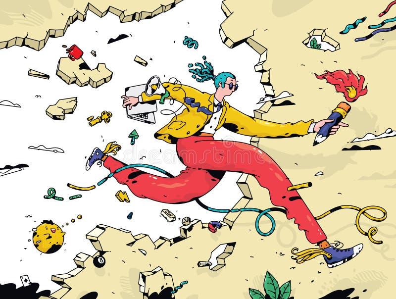 Personal de la b?squeda del empleado del encargado con una antorcha Vector Un hombre de negocios corriente corre a trav?s de la p libre illustration