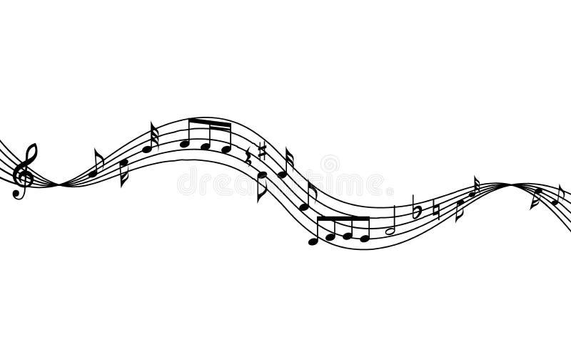 Personal de la música y fondo curvados de las notas Fondo musical del personal que agita y de las notas stock de ilustración