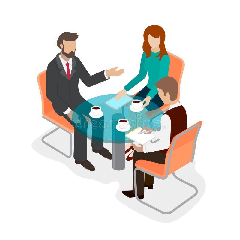 Personal de oficina del grupo de personas en la mesa redonda stock de ilustración