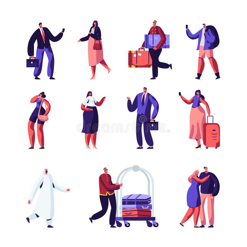 Personal del hotel y sistema de las huéspedes Hombre de negocios, recepcionista, vendedor Meeting Lodgers, clientes europeos árab stock de ilustración