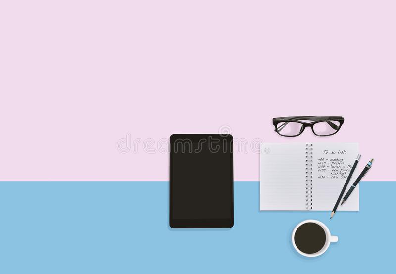 Personal desktop working space in pastel color. Business plan concept with copy space. royalty free stock photo