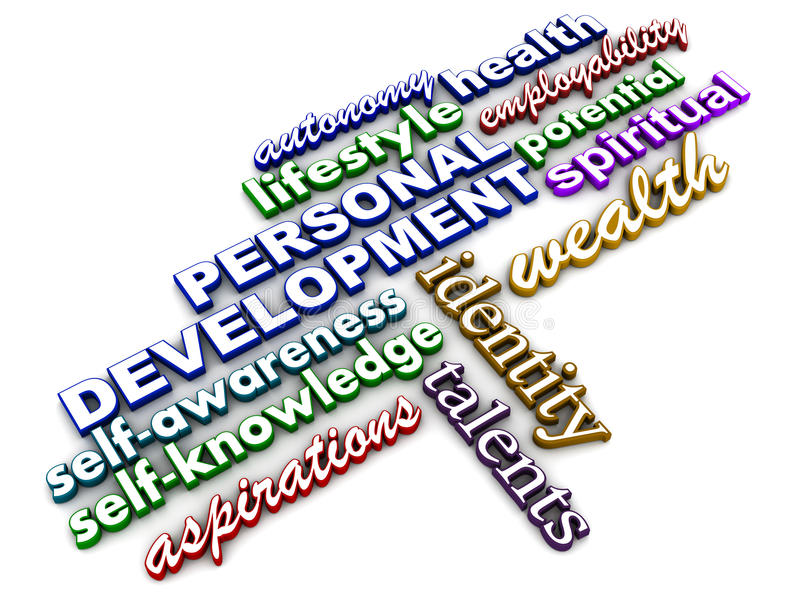 Personal development. Related words on white background, concept of personality and PR management royalty free illustration