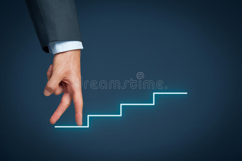 Personal development career. Personal development, personal and career growth represented by hands climbing sketched stairs stock image