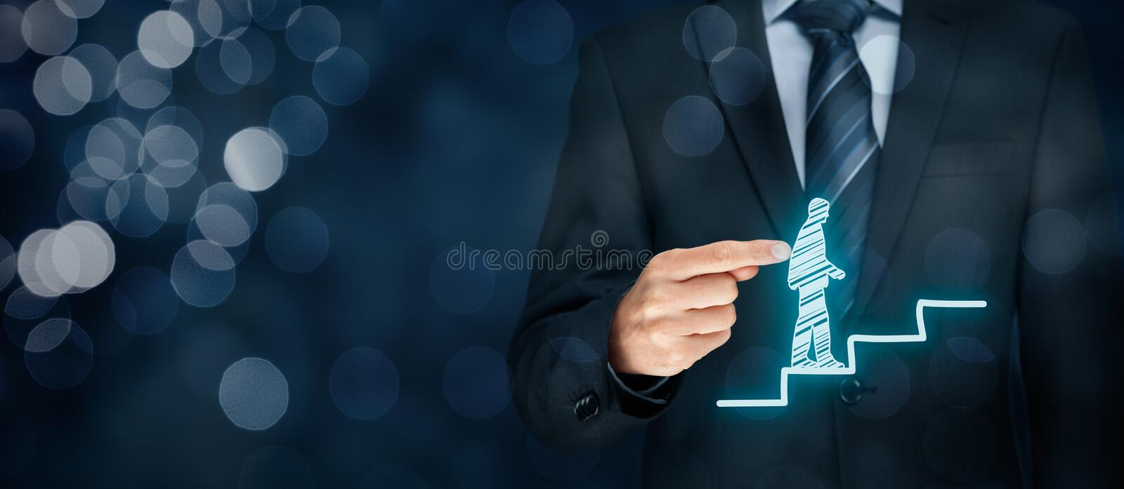 Personal development career. Personal development, personal and career growth, success, progress, motivation and potential concepts. Coach (human resources royalty free stock photo