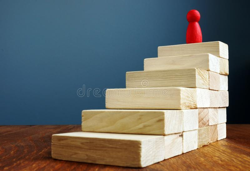 Personal development and growth, success in career concepts. Stairs and figurine as symbol of leader royalty free stock photos