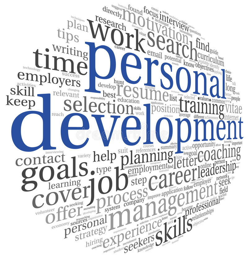 Personal development in tag cloud vector illustration