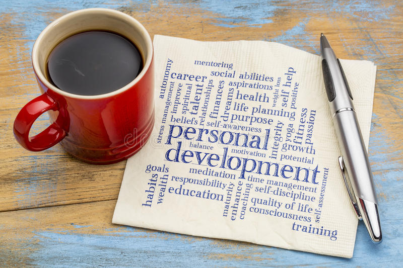 Personal development word cloud on napkin stock images