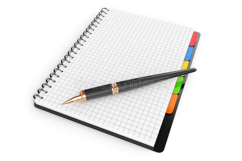 Personal Diary or Organiser Book with Blank Pages and Pen. 3d Re stock illustration
