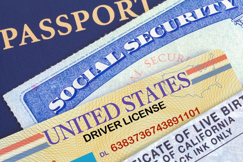 Personal Documents. USA Passport with Social Security Card, Drivers License and Birth Certificate stock images