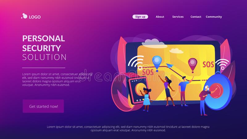 Personal emergency button concept landing page. People get lost, in trouble. Personal emergency button, built in GPS SOS button, personal security solution, care royalty free illustration