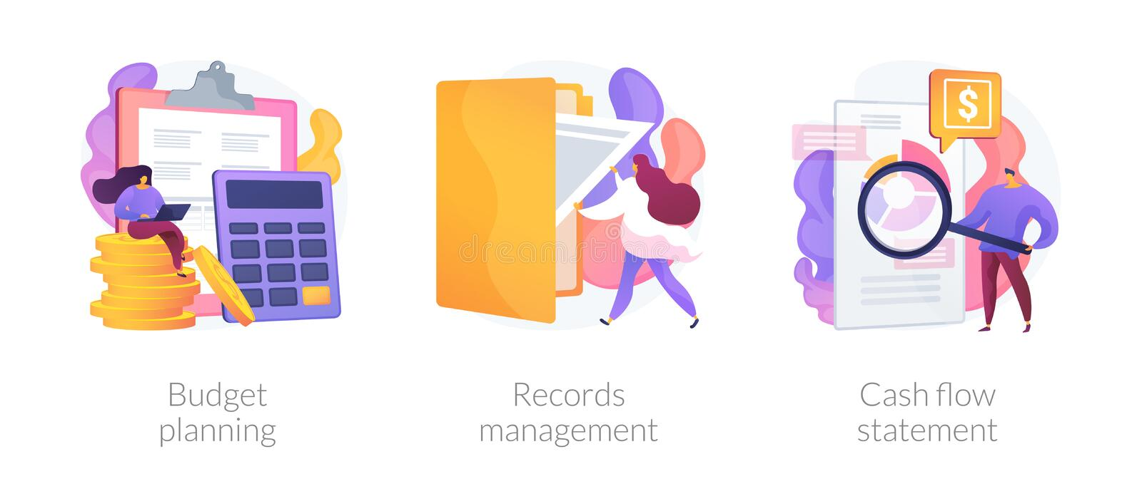 Personal expenses management vector concept metaphors. Money savings estimation, files organization system, financial report icons set. Budget planning, records royalty free illustration
