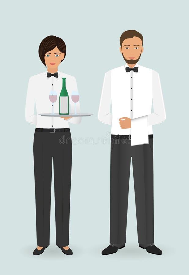 Personal för ockupation för matservice Par av den manliga uppassare- och kvinnligservitrins med disk och i likformig royaltyfri illustrationer