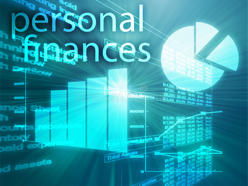 Personal finances. Illustration of Spreadsheet and business charts stock illustration