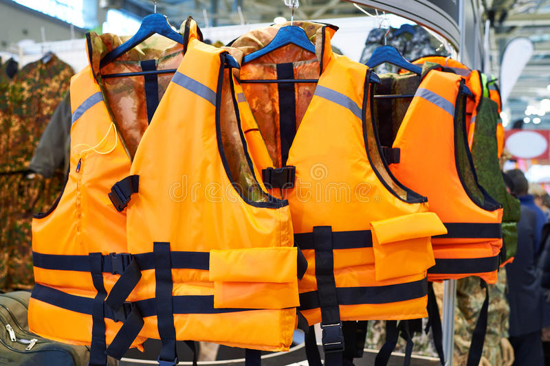 Personal flotation device as life jacket in store. Personal flotation device as a life jacket in store royalty free stock photos