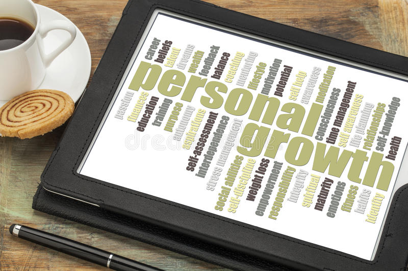 Personal growth concept - word cloud on tablet stock images