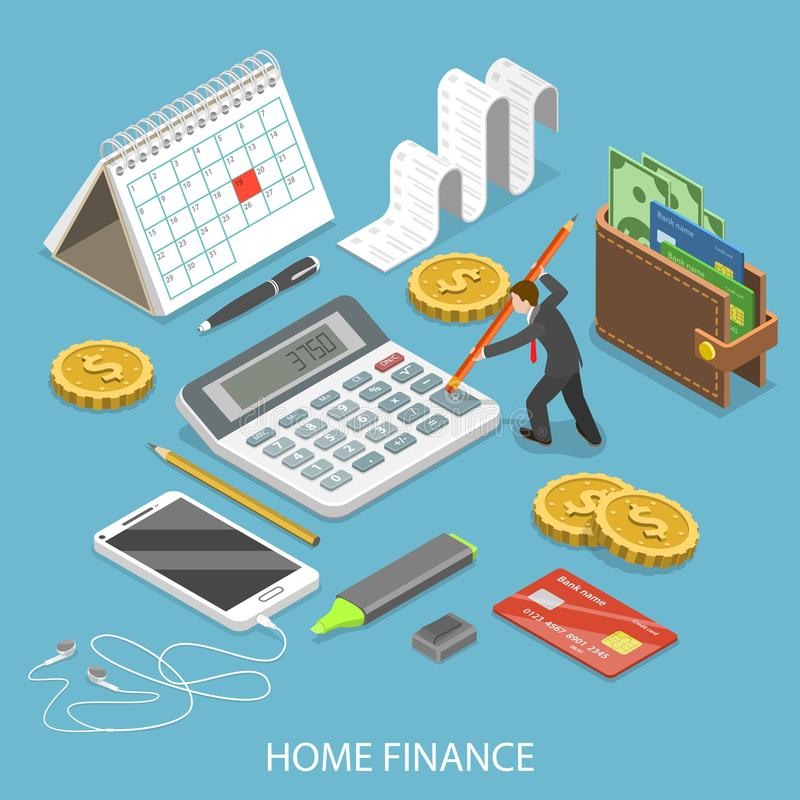 Personal home finance flat isometric vector. stock illustration