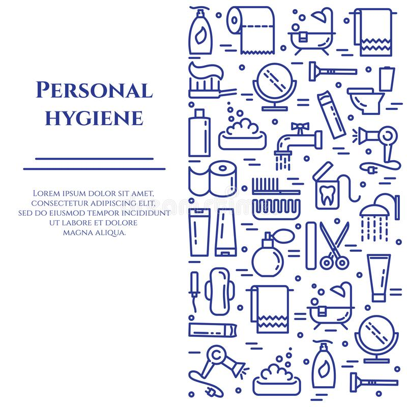 Personal hygiene banner with line icons with editable stroke in form of vertical rectangle. Different elements of healthcare and beauty in minimalistic style stock illustration