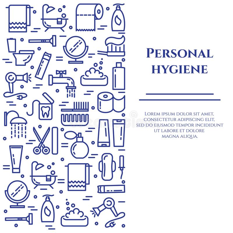 Personal hygiene blue line banner. Set of elements of shower, soap, bathroom, toilet, toothbrush and other cleaning. Pictograms. Line out. Simple silhouette royalty free illustration