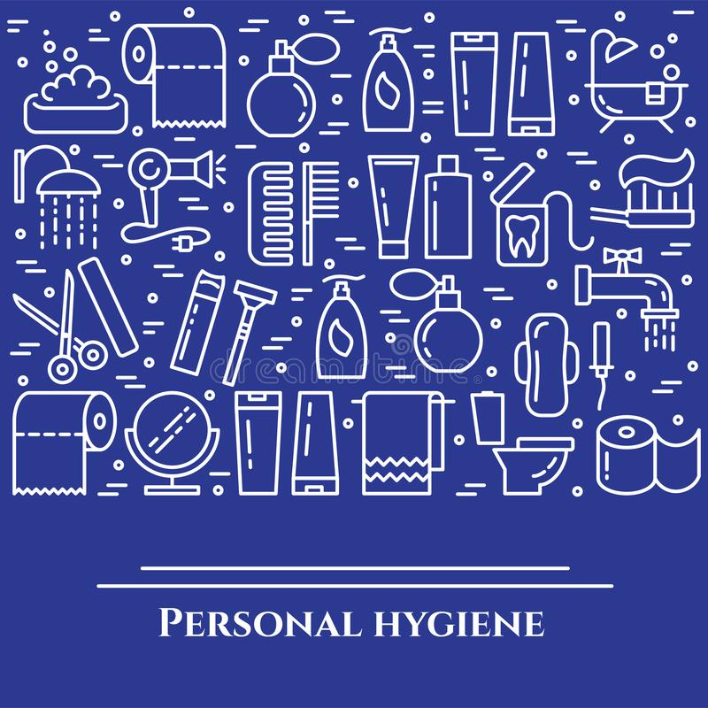 Personal hygiene blue line banner. Set of elements of shower, soap, bathroom, toilet, toothbrush and other cleaning pictograms. Li. Ne out. Simple silhouette royalty free illustration
