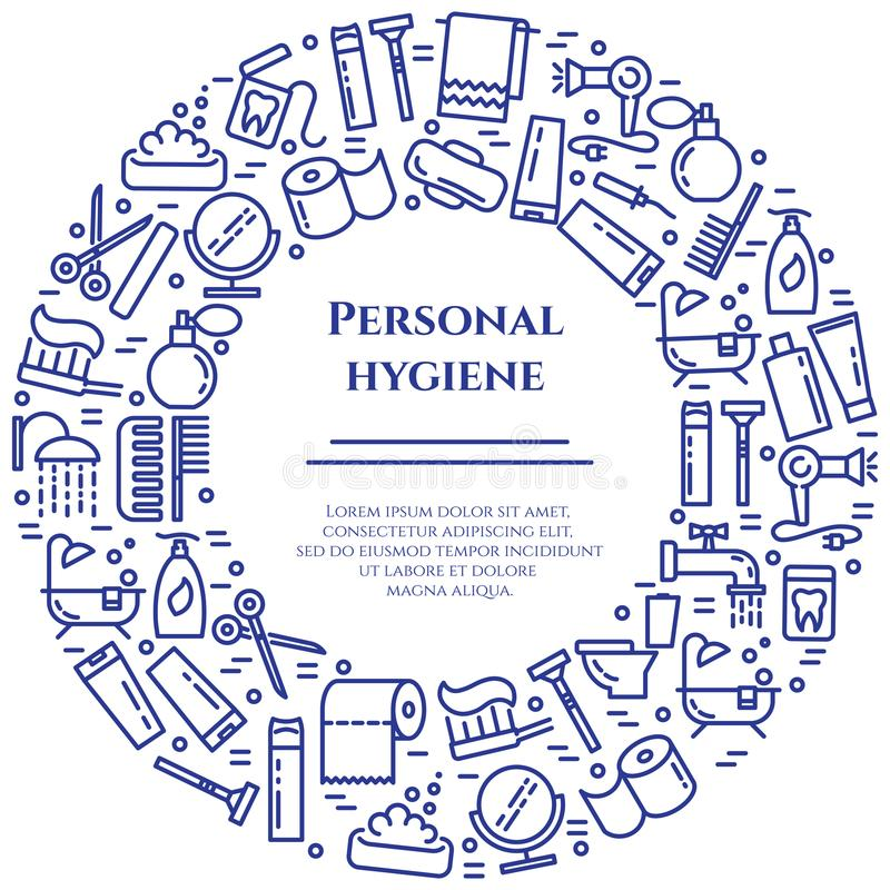 Personal hygiene blue line banner. Set of elements of shower, soap, bathroom, toilet, toothbrush and other cleaning pictograms. Li. Ne out. Simple silhouette vector illustration