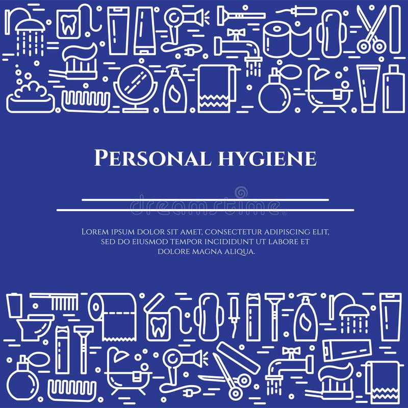 Personal hygiene blue line banner. Set of elements of shower, soap, bathroom, toilet, toothbrush and other cleaning. Pictograms. Line out. Simple silhouette vector illustration