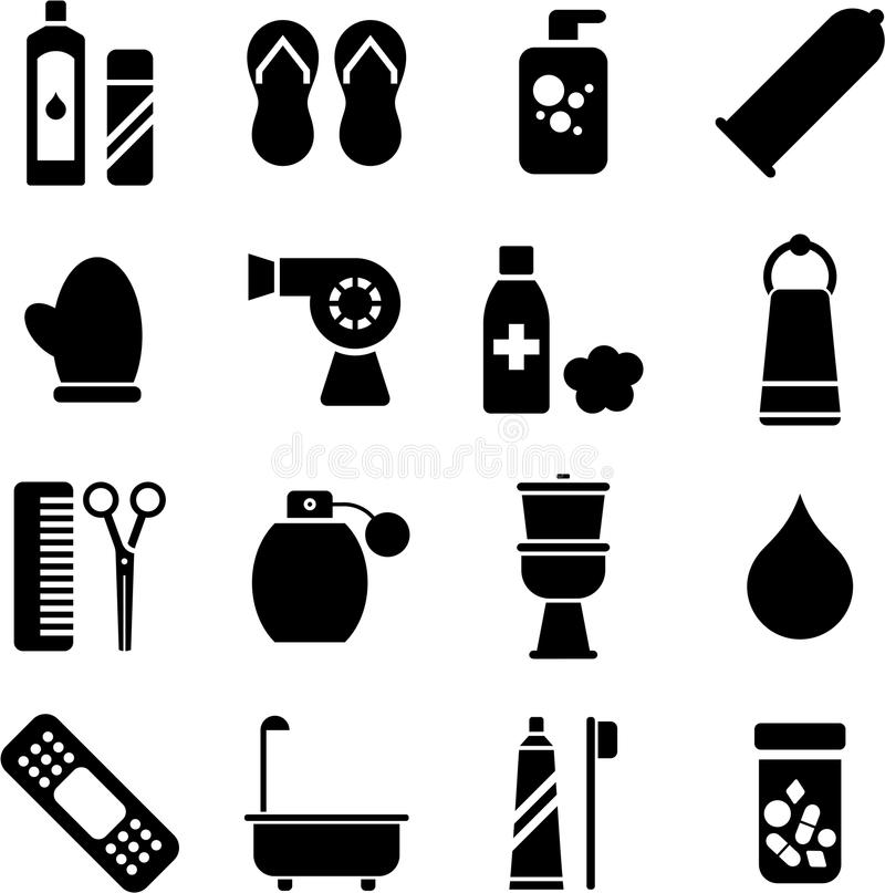Personal hygiene icons. Some icons related with personal hygiene stock illustration