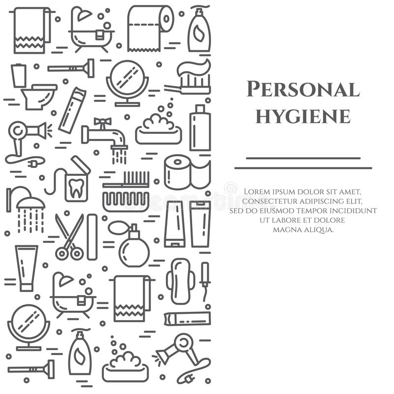 Personal hygiene line banner. Set of elements of shower, soap, bathroom, toilet, toothbrush and other cleaning. Pictograms. Line out. Simple silhouette vector illustration