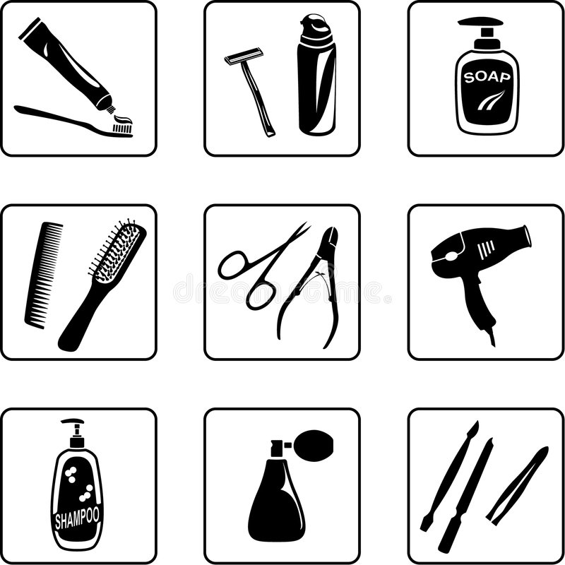 Personal Hygiene Objects. Black and white silhouettes royalty free illustration