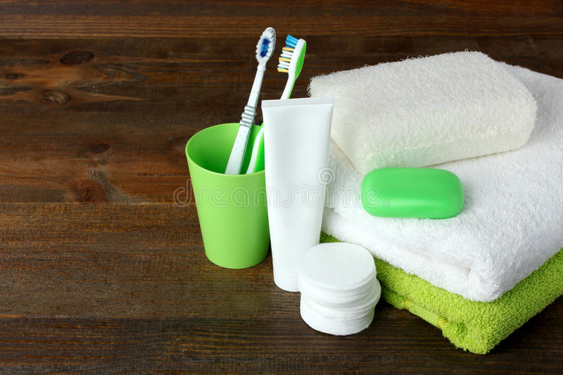 Personal hygiene products stock image. Image of green