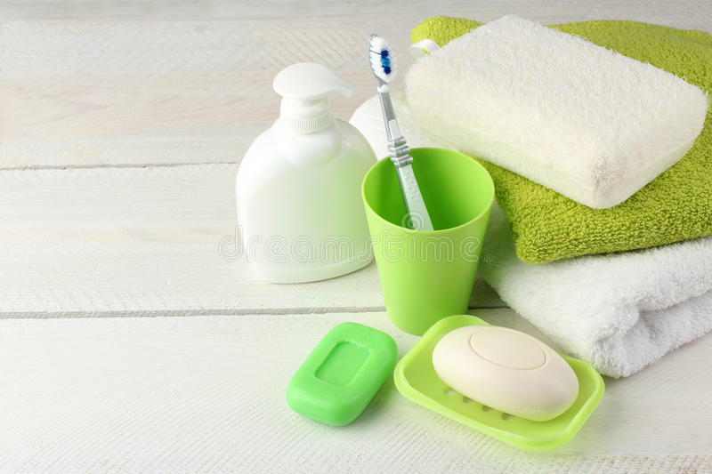 Personal hygiene products. On white wooden background stock photography