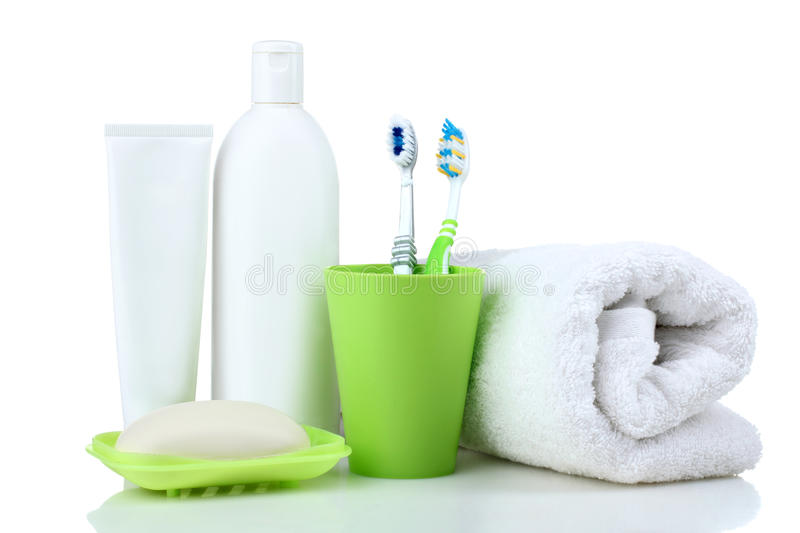 Personal hygiene products. On white wooden background royalty free stock photo