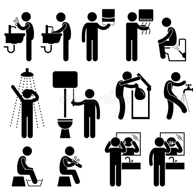 Personal Hygiene in Toilet Pictogram. A set of pictograms representing the personal hygiene acts in toilet, such as washing hand, face, backside, leg, and more vector illustration