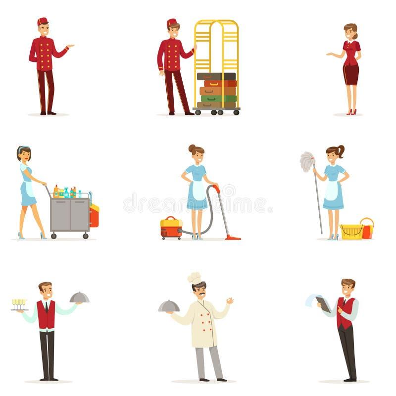 Personal i hotelluppsättningen för etikettdesign Receptionist kock, uppassare, hembiträde, portvakt Specificerad färgrik tecknad  stock illustrationer