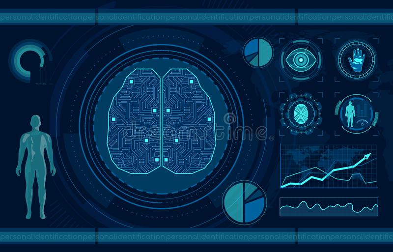 Personal identification flat vector illustration. Smart recognition system, fingerprint, palm print and eye scan. Artificial intelligence, AI technology royalty free illustration