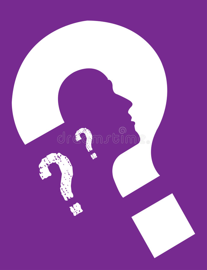 Personal Identity Purple. A Question Mark Of Personal Identity stock illustration