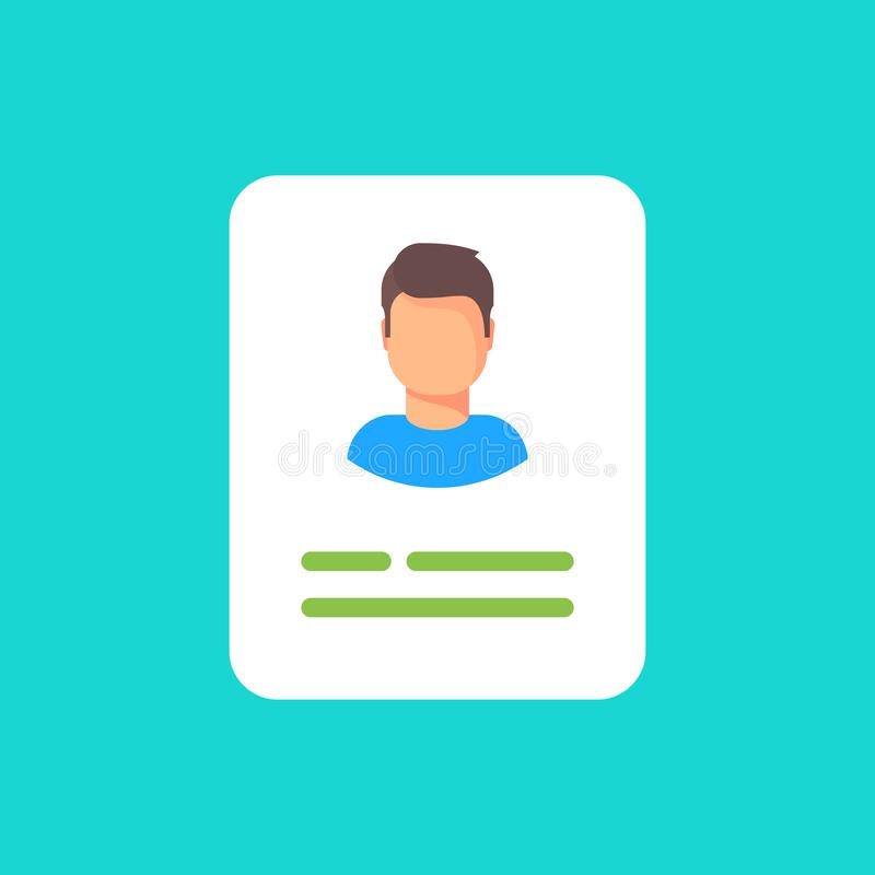 Personal info data, user or profile card details symbol, my account pictogram idea, identity document with person photo. And text clipart. Icon vector stock illustration