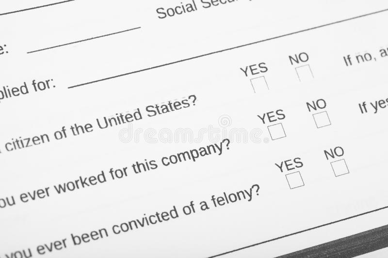 Personal information application. Focus on the section citizen of United States and check box. Close up of personal information application. Focus on the section royalty free stock photography