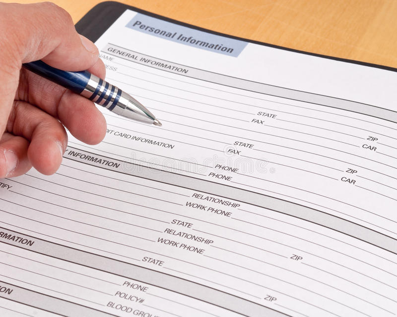Personal Information Reference Sheet stock images