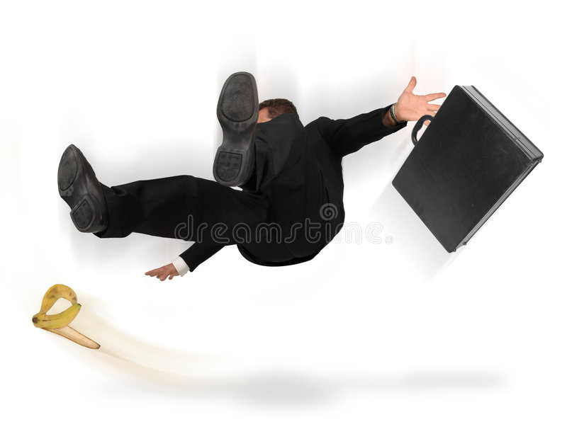 Personal Injury. Businessman slipping and falling from a banana peel on a white background stock photography