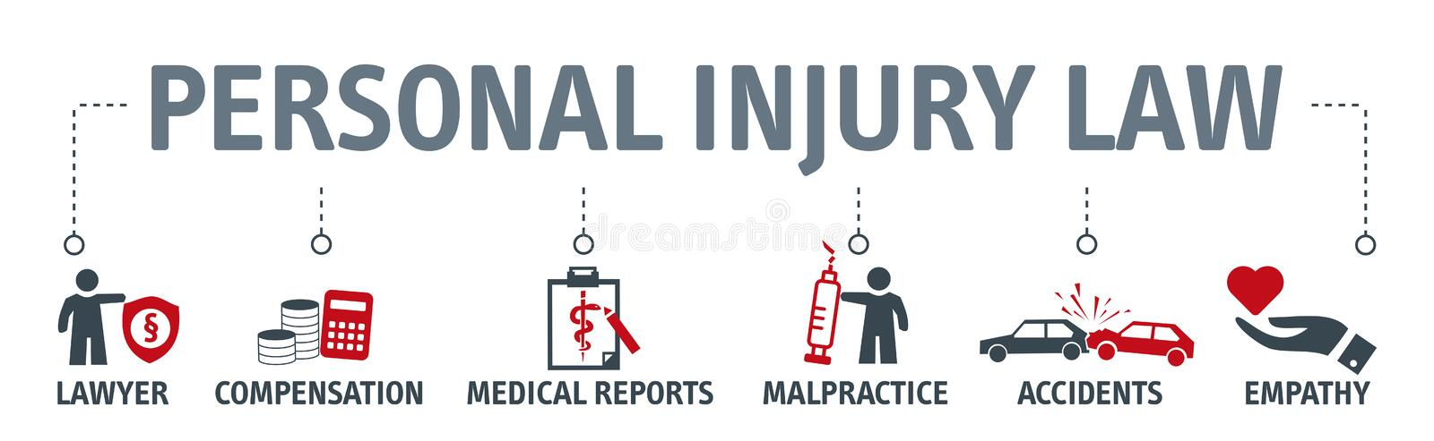 Personal injury law concept. Banner with icons. Banner personal injury law word vector illustration concept with icons stock illustration