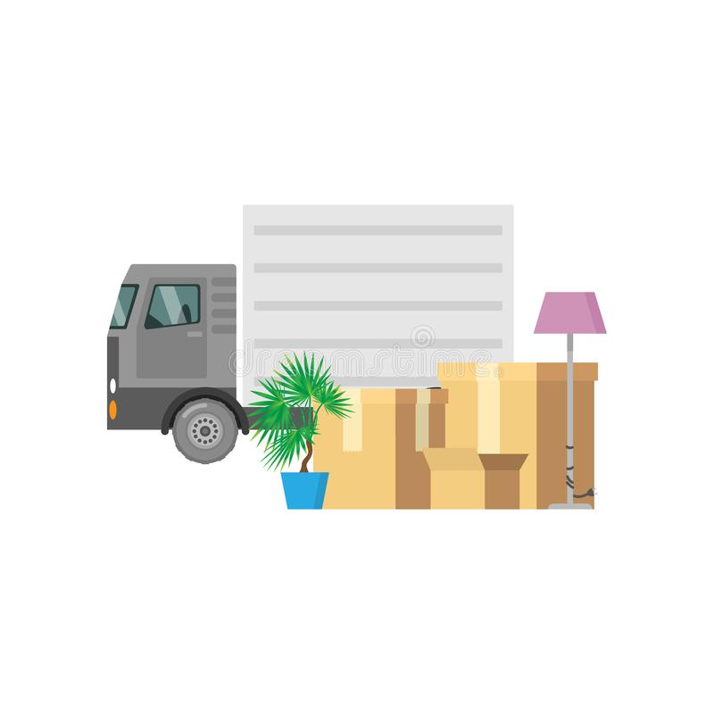Personal items packed in relocation boxes with a truck in the background. Close-up view of personal items packed in relocation boxes are in front of a truck on a stock illustration