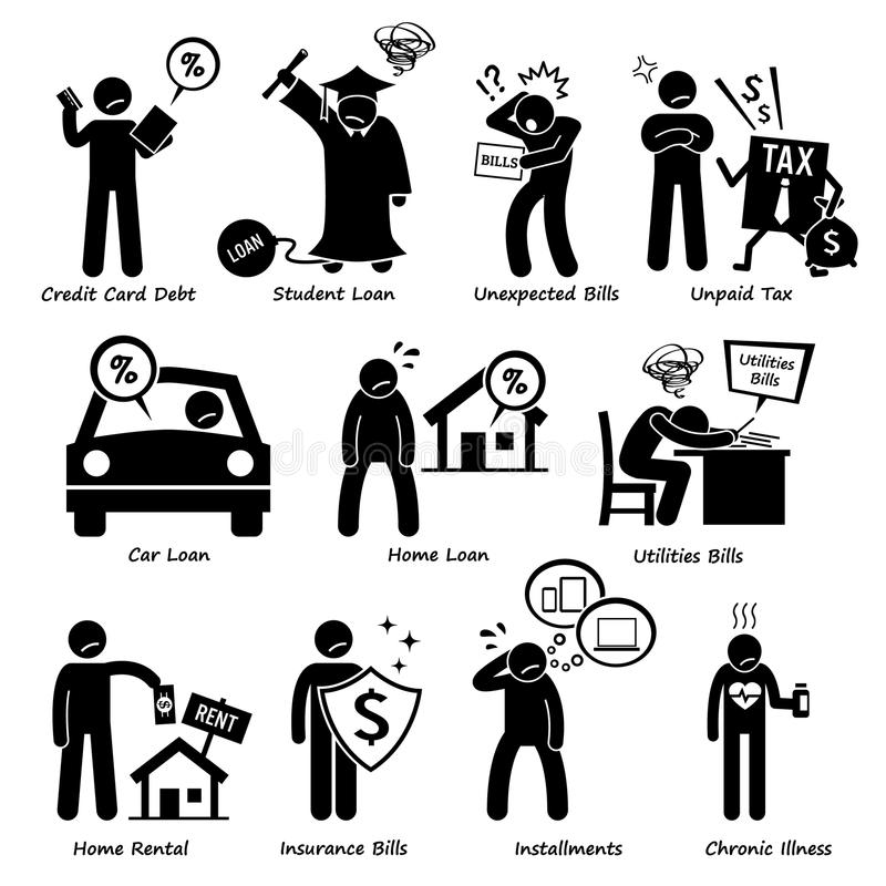Personal Liabilities Pictogram Clipart royalty free illustration