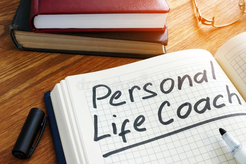 Personal life coach mark on a schedule royalty free stock photos