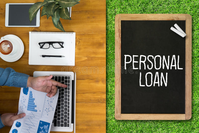 PERSONAL LOAN money with bank employees approve contract. Loan, personal, finance, business, mortgage, financial, money, banking, debt, budget, loans, savings royalty free stock photos