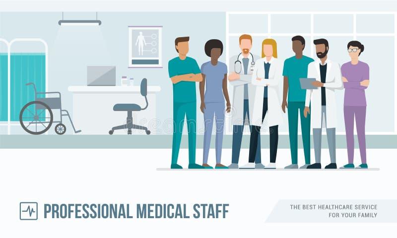 Personal médico en el hospital libre illustration